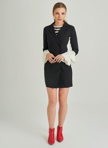 People By Fabrika Kontrast Ceket Elbise Siyah